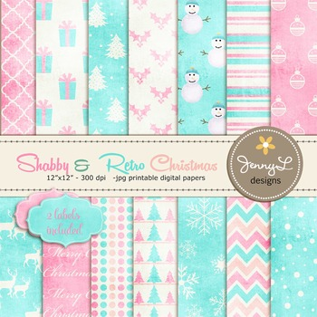Shabby Retro Christmas Digital Paper, Holiday papers