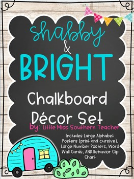 Shabby and Bright Chalkboard Decor Set
