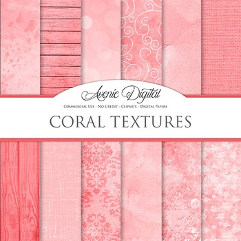 Shabby chic Coral Textures Background Digital Paper grunge