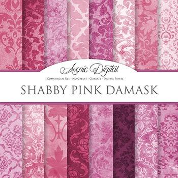 Shabby chic Damask Digital Paper Pink patterns scrapbook g