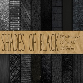 Shades of Black Digital Paper Pack - 16 Different Papers -