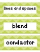 Shades of Green Chevron Music Word Wall