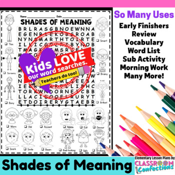 Shades of Meaning Activity: Word Search
