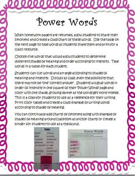Shades of Meaning: 2nd grade ELA Common Core