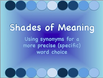Shades of Meaning PowerPoint for Intro & Practice