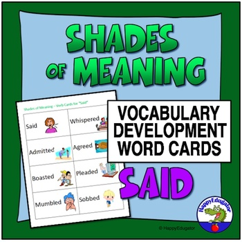 Shades of Meaning Verb Cards - SAID