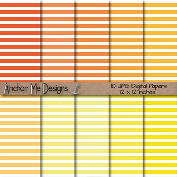 Shades of Orange & Yellow Thin Striped Dig. Paper for TPT