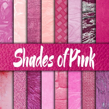 Shades of Pink Digital Paper Pack - 16 Different Papers -