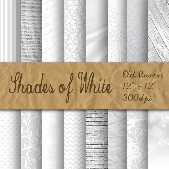 Shades of White Digital Paper Pack - 16 Different Papers -
