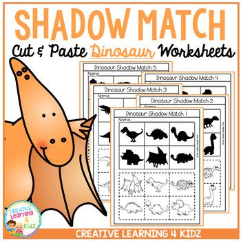 Shadow Matching Dinosaur Cut & Paste Worksheets