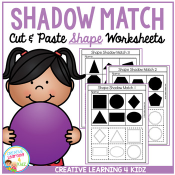 Shadow Matching Shape Cut & Paste Worksheets