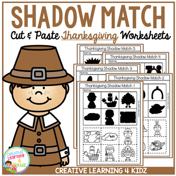 Shadow Matching Thanksgiving Cut & Paste Worksheets