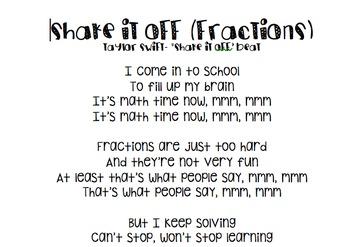 Shake It Off Fractions! Lyrics