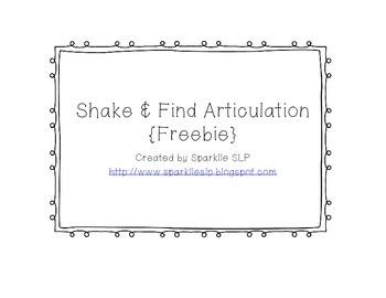 Shake and Find Articulation FREEBIE!