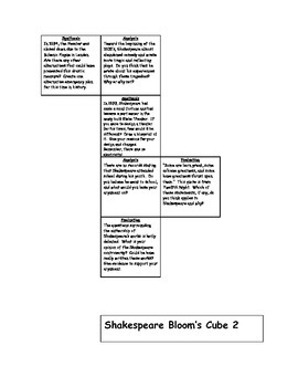 Shakespeare Bloom's Taxonomy Cube #2 - Differentiation Tool