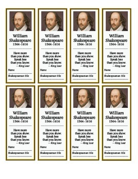 Shakespeare Bookmarks (FREE!)
