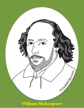 Shakespeare Clip Art, Coloring Page, or Mini-Poster