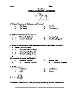 Shakespeare / Drama Unit Review Focus Activity
