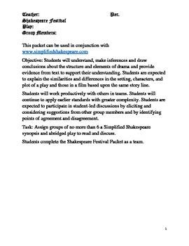 Shakespeare Festival Reading Group Packet