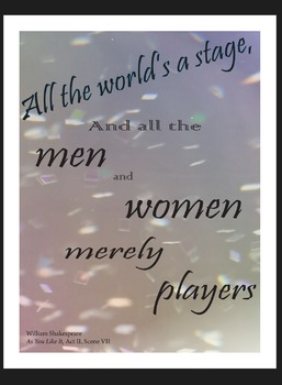 "Shakespeare Quote Poster Decor: ""All the World's a Stage.."