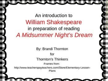 Shakespeare Research Before Reading A Midsummer's Night Dream