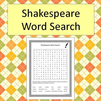 Shakespeare Word Search - No Prep - black and white