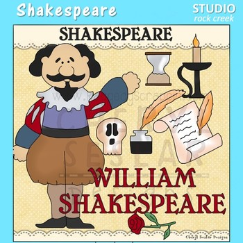 Shakespeare  World History Dramatic Arts Color Clip Art  C