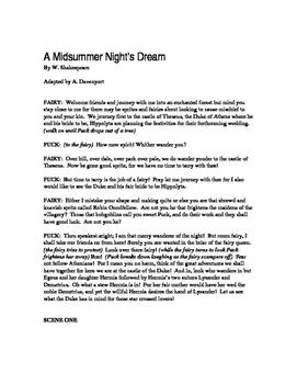 Shakespeare's A Midsummer Night's Dream Script - 45 Minute