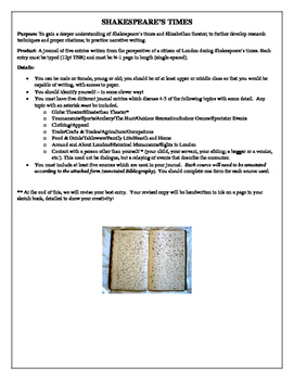 Shakespeare's Times Journal Project