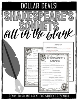Shakespeare's Sonnets Fill-in-the-Blank