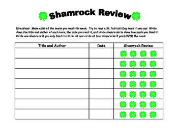 Shamrock Book Review Freebie