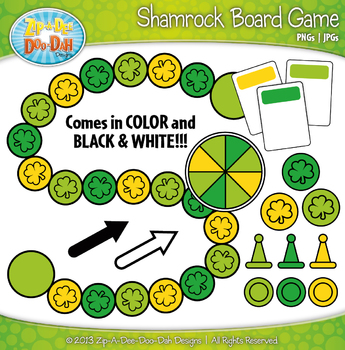 Shamrock Build A Board Game Clip Art Set — Over 20 Colorfu