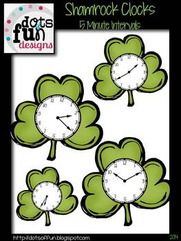 Shamrock Clocks: Color in 5 Minute Intervals ~Dots of Fun