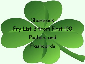 Shamrock Clover Fry List 3 From 1st 100 Sight Word Posters