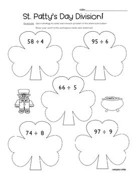 Shamrock Division - Math Leveled Practice for Division of