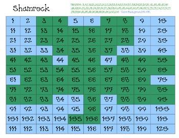 Shamrock Hidden Picture on 120 chart