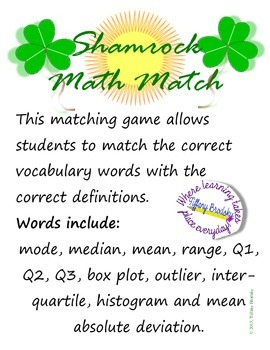 Shamrock Math Match: Vocabulary Game for Mode, Median, Box