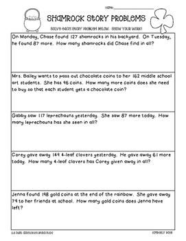 Shamrock Math Story Problems--2-3 Digit Addition and Subtr