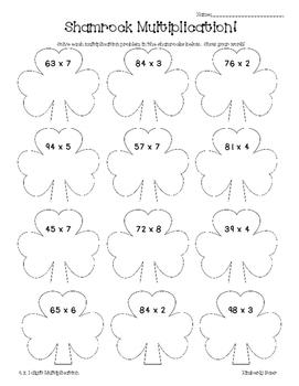 Shamrock Multiplication Math Practice Worksheet--Multiplyi