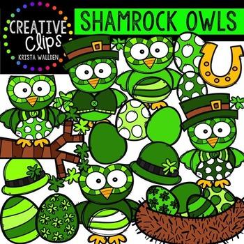 Shamrock Owls {Creative Clips Digital Clipart}
