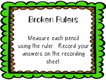 Shamrock Pencil Broken Ruler task cards