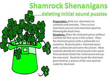 Shamrock Shenanigans - initial sound deletion puzzles
