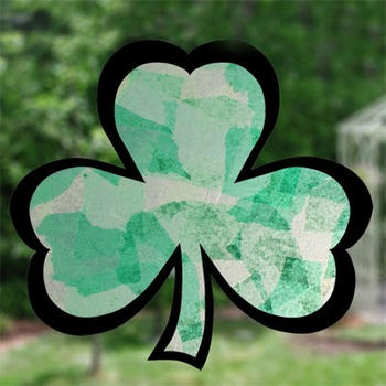 Shamrock Stained Glass with tissue paper