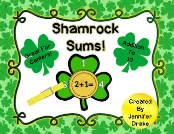 Shamrock Sums!  St Patrick's Day Addition to 10 Math Clipp