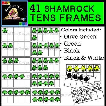 Shamrock Ten Frames Clipart  {Sweet Line Design}
