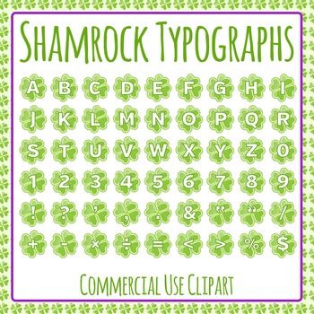Shamrock Typographs - Letters / Tiles / Characters Clip Ar