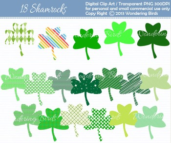 Shamrock clip art - set of 18 clip arts