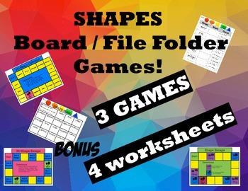 Shape Board / File Folder Games with Bonus Worksheets!