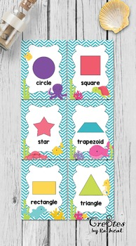 Shape Cards & Signs 2D shapes - Under the Sea Themed