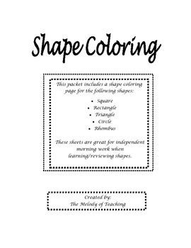 Shape Identification Coloring Morning Work